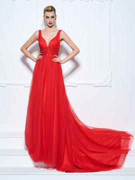Empire Waist Straps Beading Long Red Evening Dress & affordable Evening Dresses