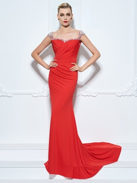 Straps Cap Sleeve Beading Sheath Red Evening Dress & Evening Dresses for less
