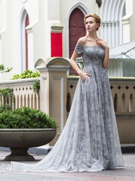 A-Line Off the Shoulder Lace Evening Dress