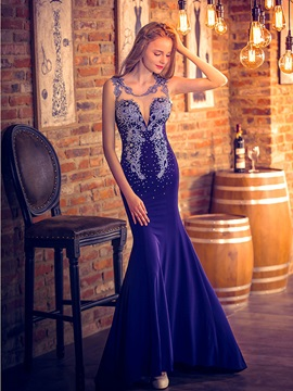 Luxurious Straps Beading Appliques Sheer Back Mermaid Evening Dress & inexpensive Evening Dresses