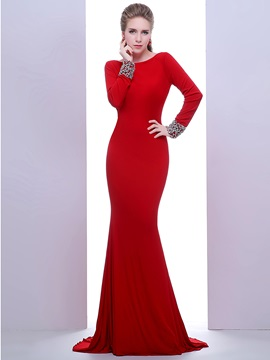Ladylike Bateau Neck Long Sleeves Beading Backless Evening Dress & inexpensive Evening Dresses