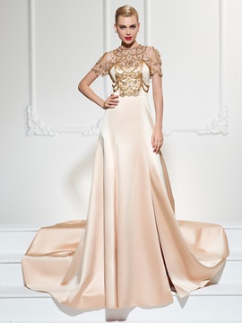 Jewel Neck Beading Split-Front Evening Dress