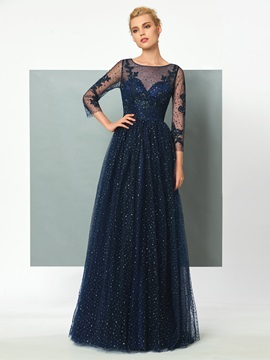 Gorgeous A-Line Scoop 3/4 Length Sleeves Appliques Sequins Evening Dress & Evening Dresses 2012