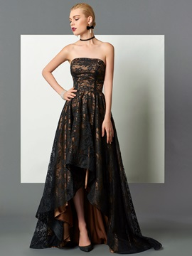 Elegant A-Line Strapless Lace Asymmetry Evening Dress & Evening Dresses on sale
