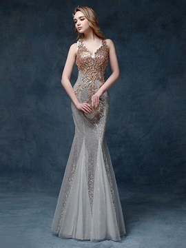 V-Neck Beading Appliques Sequins Evening Dress