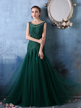 Vintage Scoop Neck Pearls Mermaid Lace Evening Dress & Evening Dresses on sale