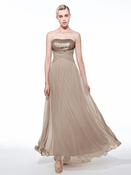 Empire Waist Strapless Sequins Long Evening Dress & Evening Dresses 2012