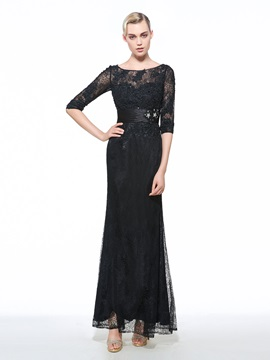 Vintage 3/4 Length Sleeves Beading Lace Evening Dress & Evening Dresses for less