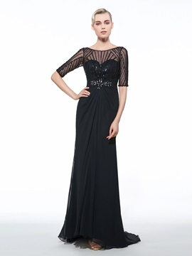 Half Sleeves Beading Sequins Black Evening Dress & Evening Dresses under 100