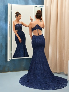 Hot Sale Trumpet Scoop Button Lace Court Train Evening Dress & Evening Dresses 2012
