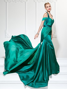Eye-Catching Mermaid Halter Pleats Court Train Evening Dress