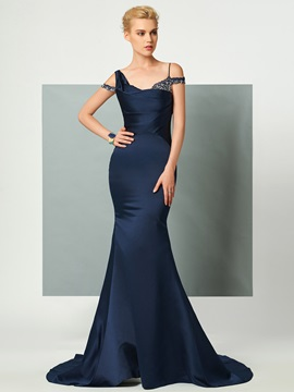 Timeless Straps Trumpet Beading Court Train Evening Dress & affordable Evening Dresses