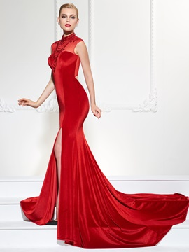 Gorgeous Mermaid High Neck Cap Sleeves Beading Split-Front Court Train Evening Dress & Evening Dresses online