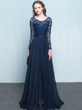 Vintage Scoop Neck Beading Floor-Length Evening Dress & unique Evening Dresses