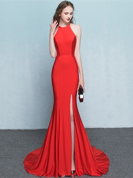 Halter Split-Front Long Sheath Red Evening Dress & elegant Evening Dresses