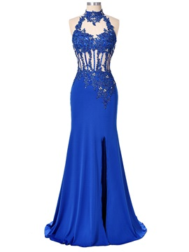 Halter Appliques Beading Backless Sheath Evening Dress & Evening Dresses for less