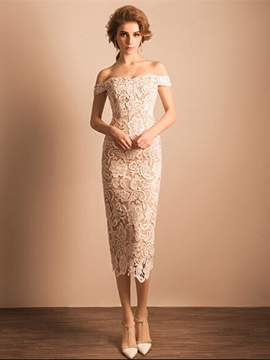 Elegant Off the Shoulder Sheath Tea-Length Lace Evening Dress & fairy Evening Dresses