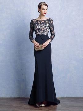 Elegant Sheath Scoop Long Sleeves Bowknot Lace Court Train Evening Dress & unique Evening Dresses
