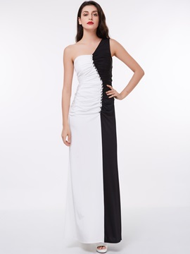 One Shoulder Beading Contrast Color Evening Dress & unique Evening Dresses