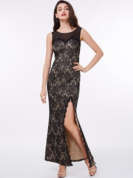 Straps Split-Front Black Lace Evening Dress & romantic Evening Dresses