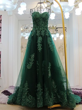 Gorgeous A-Line Sweetheart Appliques Beading Sequins Court Train Evening Dress & petite Evening Dresses