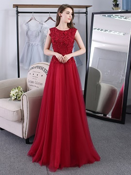 Elegant A-Line Scoop Lace Pearls Sashes Long Evening Dress & cheap Evening Dresses