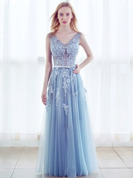 Nice A-Line V-Neck Appliques Beading Pearls Floor-Length Evening Dress & colored Evening Dresses