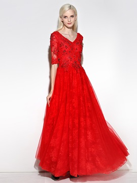 Delicate Half Sleeves A-Line V-Neck Beading Crystal Lace Long Evening Dress & formal Evening Dresses