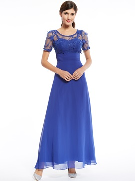 Scoop Neck Appliques Beading Short Sleeves Evening Dress & vintage style Evening Dresses
