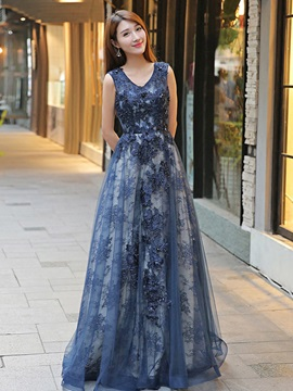 Nice A-Line V-Neck 3/4 Length Sleeves Lace Floor-Length Evening Dress & fashion Evening Dresses