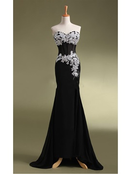 Concise Sheath Sweetheart Appliques Beading Sequins Sweep Train Evening Dress & unique Evening Dresses