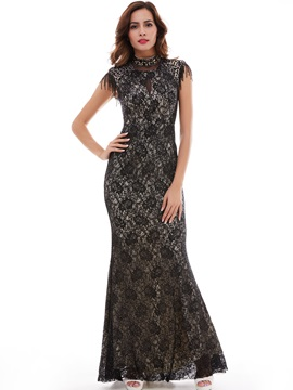 Choker High Neck Lace Mermaid/Trumpet Evening Dress