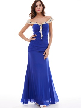 Unique Chiffon One-Shoulder Beaded Sheath Evening Dress & attractive Evening Dresses
