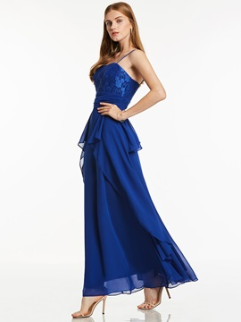 Classic Spaghetti Straps A-Line Lace Chiffon Evening Dress