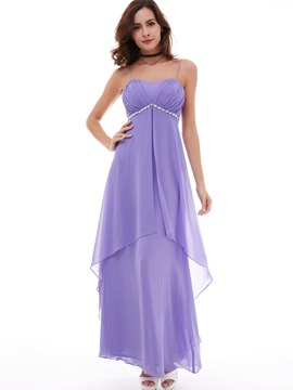 Charming Spaghetti Straps Empire Waist Beaded Chiffon Evening Dress