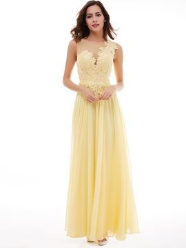 Concise Scoop Neckline Appliques Lace-Up A-Line Evening Dress & Evening Dresses 2012