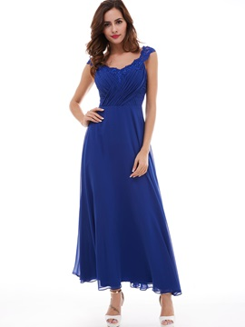 Timeless A-Line Straps Pleated Appliques Lace Chiffon Evening Dress & petite Evening Dresses