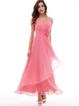 Lovely V-Neck A-Line Pleated Chiffon Flower Long Evening Dress & affordable Evening Dresses