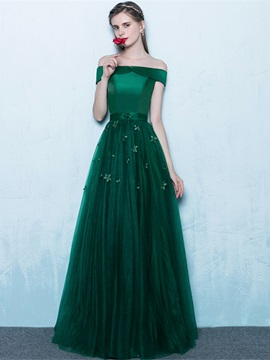 Nice A-Line Off-the-Shoulder Flowers Floor-Length Evening Dress & modest Evening Dresses