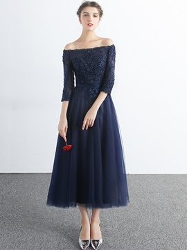 A-Line Off-the-Shoulder Appliques Beading Evening Dress