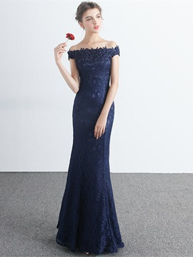 Elegant Off-the-Shoulder Sheath Appliques Beading Lace Floor-Length Evening Dress & Evening Dresses for sale