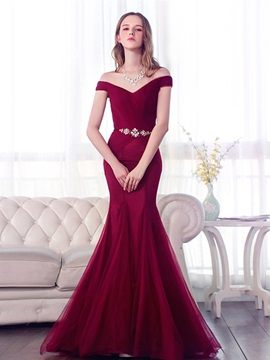 Elegant Mermaid Off-the-Shoulder Beading Hollow Sweep Train Evening Dress & attractive Evening Dresses