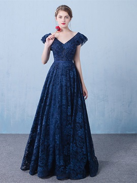 Elegant A-Line V-Neck Cap Sleeves Appliques Beading Lace Long Evening Dress & modest Evening Dresses