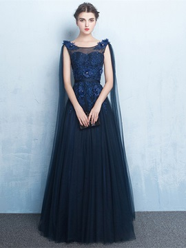 Scoop Trumpet Beading Lace Sequins Evening Dress