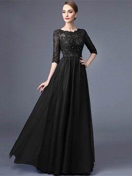 Appliques Beading Half Sleeves Black Evening Dress