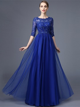 Attractive A-Line Round Neck Half Sleeves Appliques Beaded lace Long Evening Dress & Evening Dresses 2012