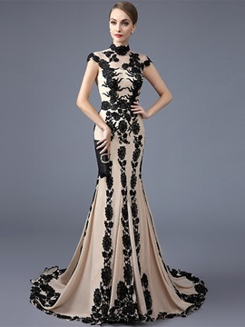 Fancy High Neck Trumpet Cap Sleeves Appliques Court Train Evening Dress & Evening Dresses on sale