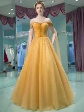 Charming A-Line Off-the-Shoulder Beading Pleats Court Train Prom Dress & colored Evening Dresses