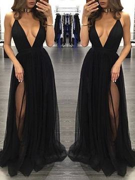 Cool Deep V-Neck A-Line Split-Front Floor-Length Evening Dress & fairy Evening Dresses
