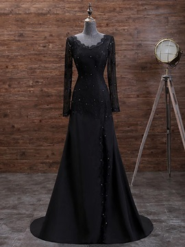 Vintage Long Sleeves A-Line V-Neck Beading Button Lace Court Train Evening Dress & Evening Dresses under 100